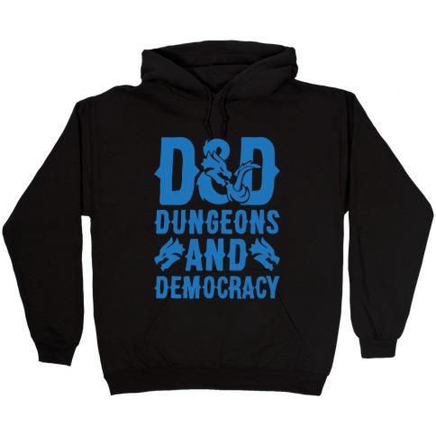 Dungeons and Democracy Parody White Print Hooded Sweatshirt