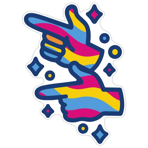 Pansexual Pride Finger Guns Die Cut Sticker