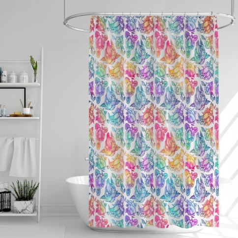 Floral Penis Rainbow Shower Curtain