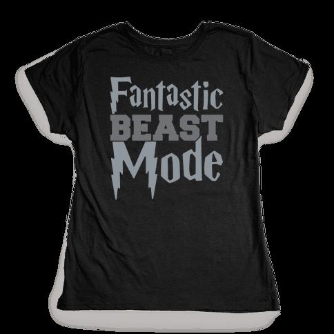 Fantastic Beast Mode Parody White Print Womens T-Shirt