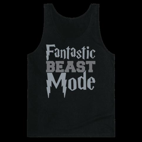 Fantastic Beast Mode Parody White Print Tank Top