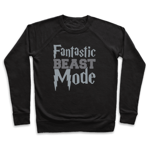 Fantastic Beast Mode Parody White Print Pullover