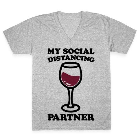 My Social Distancing Partner V-Neck Tee Shirt