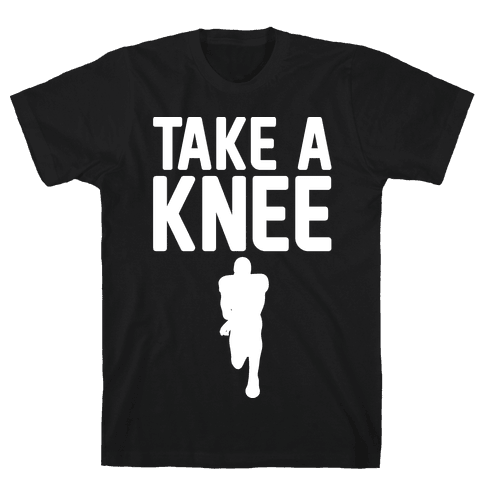 Take A Knee White Print Mens T-Shirt
