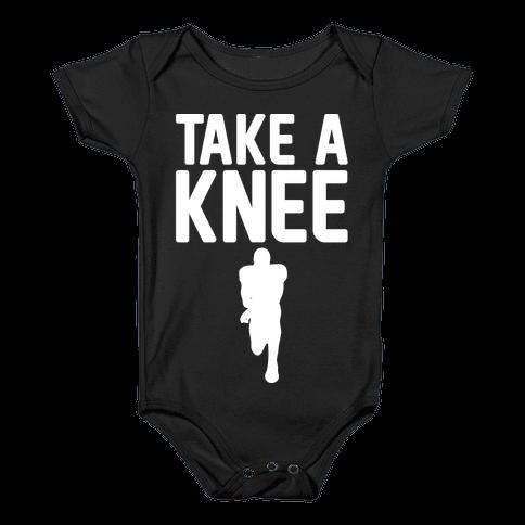 Take A Knee White Print Baby Onesy