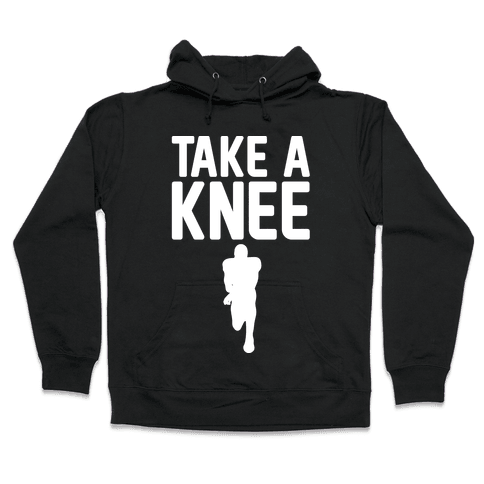 Take A Knee White Print Hooded Sweatshirt