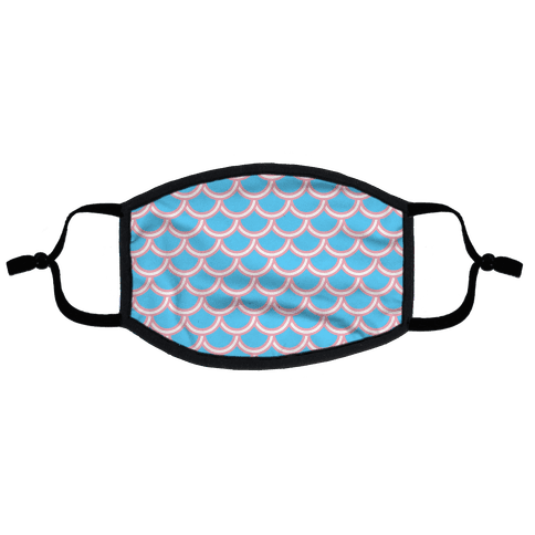 Trans Fish Scales Flat Face Mask