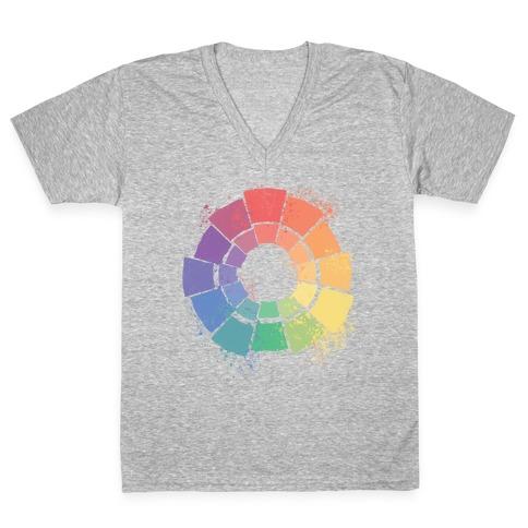 Gay Pride Color Wheel V-Neck Tee Shirt
