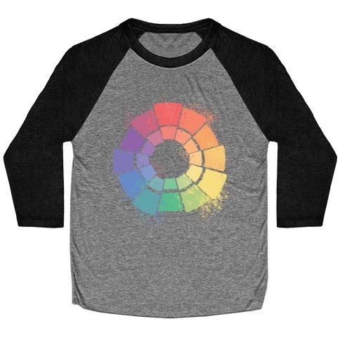 Gay Pride Color Wheel Baseball Tee