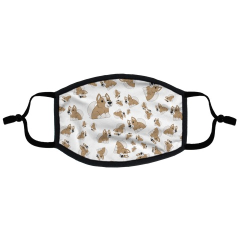 Corgi Pattern Flat Face Mask