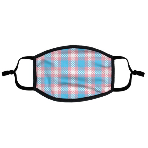 Trans Pride Flag Plaid Flat Face Mask