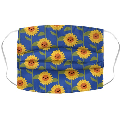 Happy Sunflower Pattern Accordion Face Mask