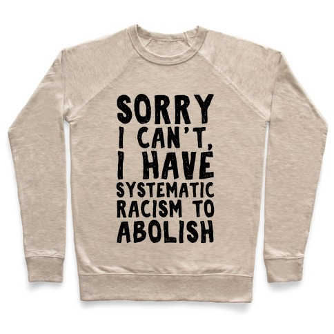 Sorry I Can't, I Have Systematic Racism To Abolish Pullover