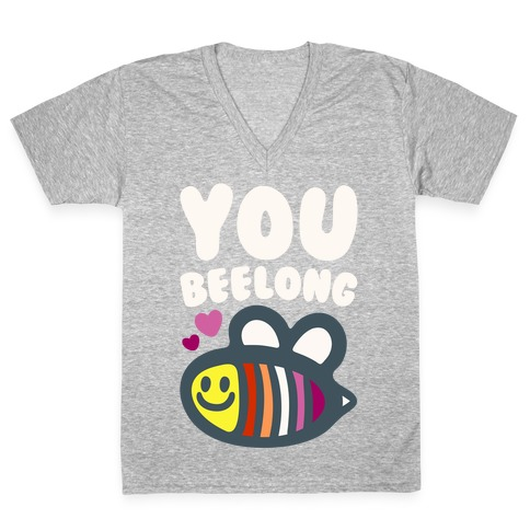 You Belong Lesbian Pride White Print V-Neck Tee Shirt