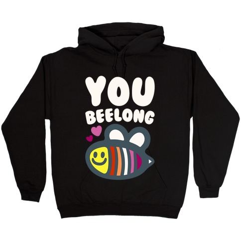 You Belong Lesbian Pride White Print Hooded Sweatshirt