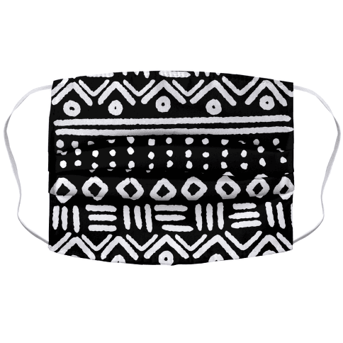 Abstract Geometric Black and White Boho Pattern Face Mask Cover