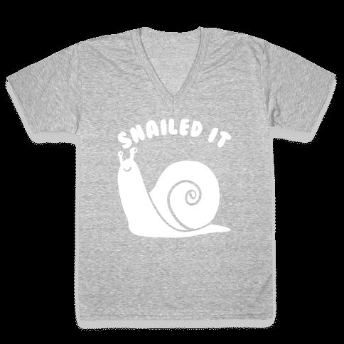 Snailed It V-Neck Tee Shirt