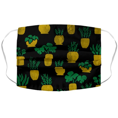Watercolor Houseplants Pattern Black Accordion Face Mask