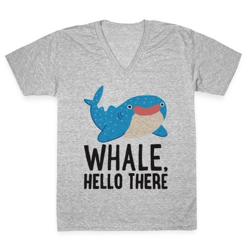 Whale, Hello There V-Neck Tee Shirt