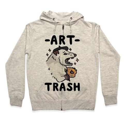 Art Trash Possum Zip Hoodie