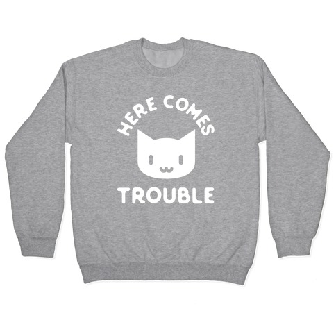 Here Comes Trouble Cat White Pullover