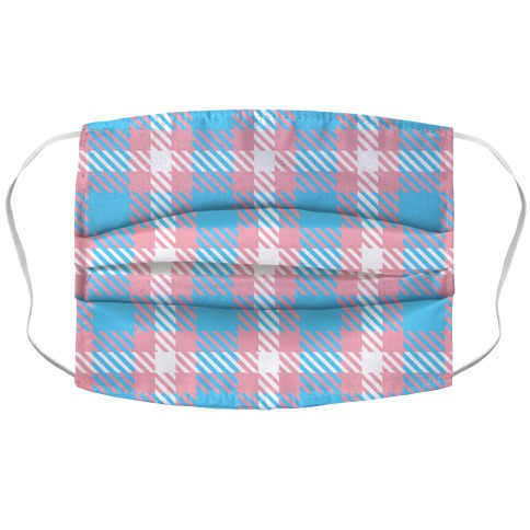 Trans Pride Flag Plaid Accordion Face Mask