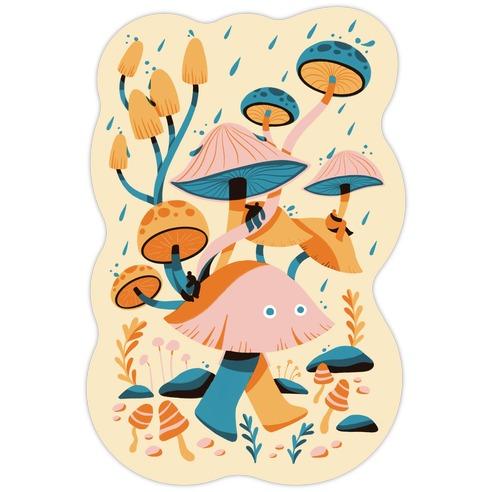 Mushroom Forest Spirits Die Cut Sticker