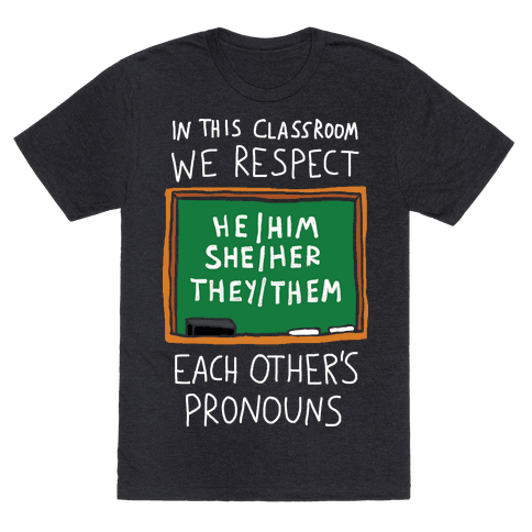 In This Classroom We Respect Each Other's Pronouns Mens T-Shirt