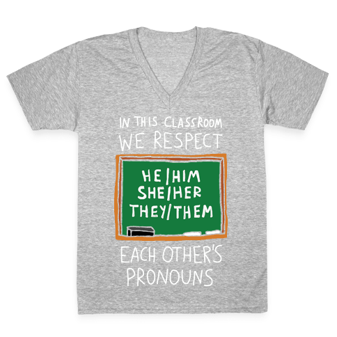 In This Classroom We Respect Each Other's Pronouns V-Neck Tee Shirt
