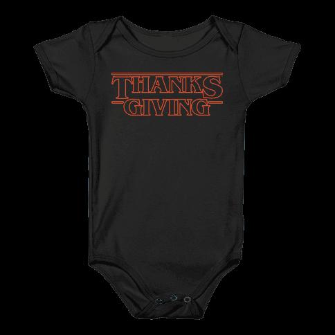 Thanksgiving Stranger Things Parody White Print Baby Onesy