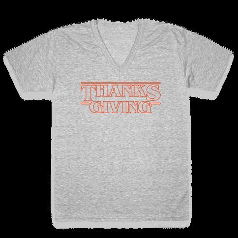 Thanksgiving Stranger Things Parody White Print V-Neck Tee Shirt