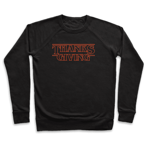 Thanksgiving Stranger Things Parody White Print Pullover