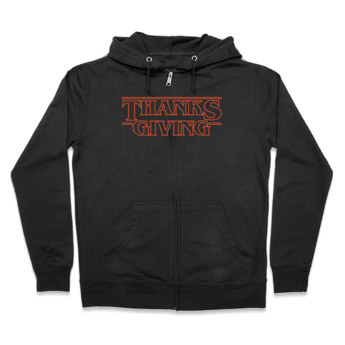 Thanksgiving Stranger Things Parody White Print Zip Hoodie