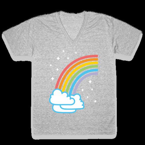 Rainbow Pair 1 (White) V-Neck Tee Shirt