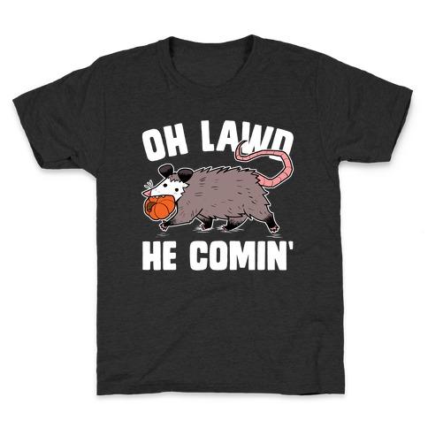 Oh Lawd He Comin' Pumpkin Possum Kids T-Shirt