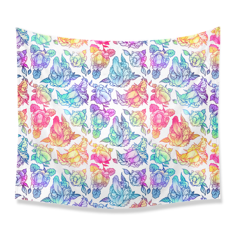 Floral Penis Rainbow Tapestry