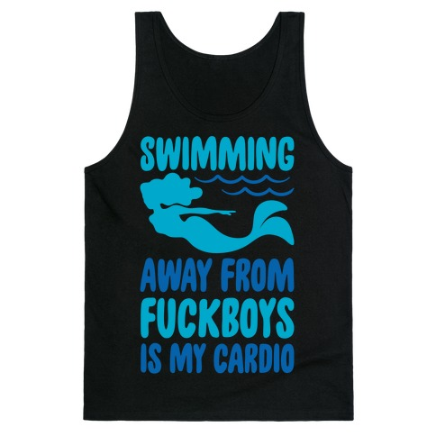Swimming Away From F***boys Is My Cardio White Print Tank Top