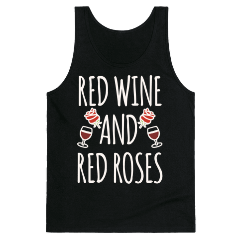 Red Wine and Red Roses White Print Tank Top