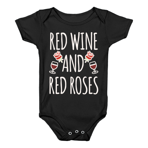 Red Wine and Red Roses White Print Baby Onesy
