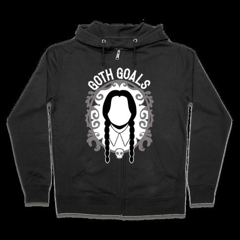 Wednesday Addams Goth Goals Zip Hoodie