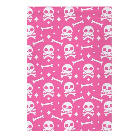 Cute Skull N' Bones Pattern (Pink) Garden Flag