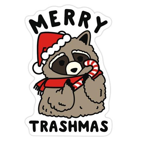 Merry Trashmas Raccoon Die Cut Sticker