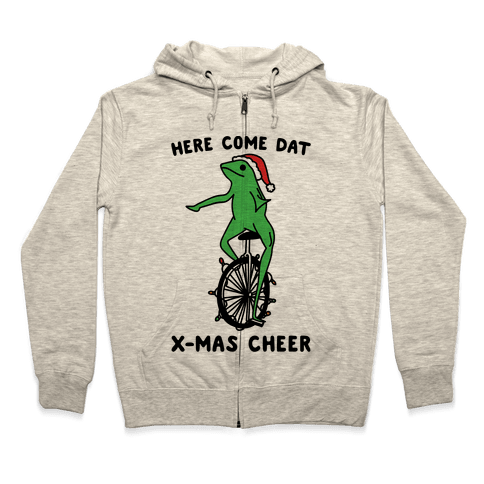 Here Come Dat X-mas Cheer Zip Hoodie