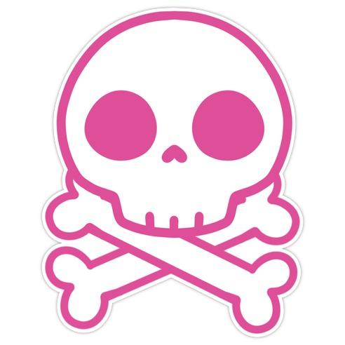 Kawaii Pink Skull Die Cut Sticker