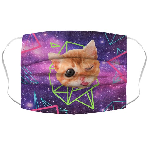 Cosmic Cat Head Accordion Face Mask