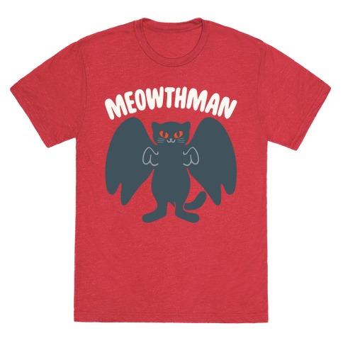 Meowthman Mothman Cat Parody White Print T-Shirt