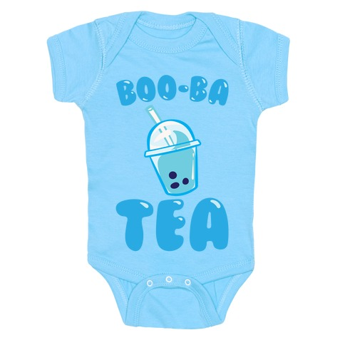 Boo-Ba Tea (Ghost Boba Tea Parody) White Print Baby Onesy