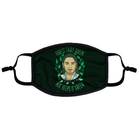 Forest Fairy Queen AOC Keeps it Green Flat Face Mask