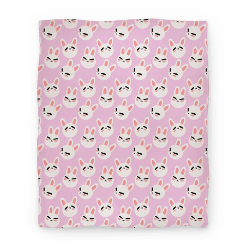 BunBun Pattern Pink Blanket