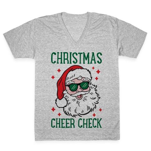 Christmas Cheer Check V-Neck Tee Shirt